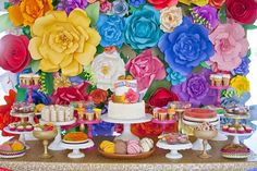 Colorful Mexican Dessert Table by Minted and Vintage