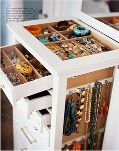 Convert your jewelry organization system into part of your home decor. You can hang pretty necklaces on the side of your furniture or even on a wall. Multi-purpose home organization for the win! Closet Organization, Jewelry Organization, Closet Storage, Jewelry Organizer Ikea, Thread Organization, Organization Station, Drawer Storage, Shoe Organizer, Plastic Storage