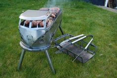 Chicken Shed Creations - Hand crafted in the UK, bespoke portable bbq, great for any occasion. The VW Inspired Barbecue. Vw Bus, Auto Volkswagen, Vw Camper, Volkswagen Transporter, Barbecue Grill, Grilling, Rv Camping Accessories, Chicken Shed, Portable Bbq