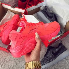 Dope Triple Pink Red Nike Air Huarache Trainers Sneakers Footwear