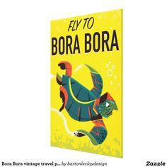 Bora Bora vintage travel poster Canvas Print