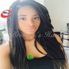 60.00$  Watch now - http://alizjv.worldwells.pw/go.php?t=32735053787 - 24 inch synthetic lace front wig crochet braid hair braided lace front wigs african american braided wigs box braids hair 60.00$