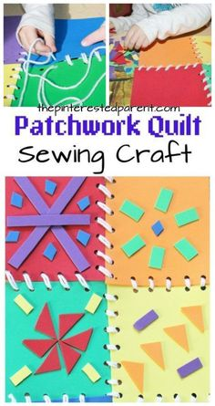 This is a great fine motor skill activity as well as a bright and pretty arts & craft project for the kids. Patchwork quilt introduction to sewing with foam pieces.