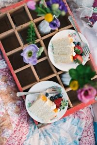 Wedding cake and wild flowers