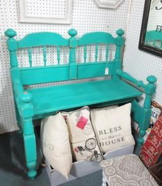 Bench made from twin headboard. From Vendor 238 in booth 189. Priced at $249.00.  ~ The Brass Armadillo Antique Mall in Denver, CO ~