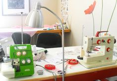 Re-inventing Fashion's sewing space, check out that cutie BERNINA!
