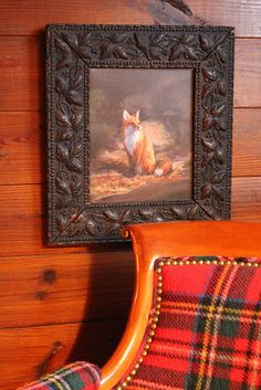 Love this fox painting and it's frame. Of course the tartan chair fabric makes me happy also! English Country Style, Town And Country, Country Decor, Equestrian Decor, Equestrian Style, Hygge, Scottish Decor, Enchanted Home, Enchanted Evening