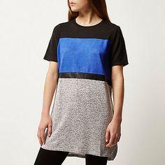 Blue colour block oversized t-shirt - t-shirts - tops - women