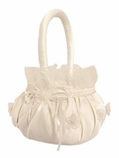 Ivory Lace Satin Flower Basket