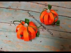 ▶ How I make a pumpkin out of ribbon (halloween hair piece) - YouTube