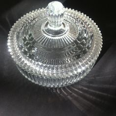 Vintage Round Covered Pressed Glass Candy Dish by Pesserae on Etsy, $15.00