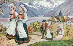 Bunadskort SVERRER KNUDSEN. Bunadspiker på Kirkeveien 1920-tallet