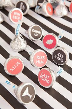 How to make custom Hershey Kiss stickers for your bachelorette party, with free printables! Wedding Crafts, Diy Wedding, Wedding Favors, Wedding Stuff, Wedding Ideas, Diy Bachelorette Party, Cricut Wedding, Candy Crafts, Hershey Kisses