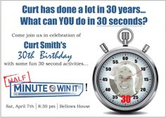 Minute to Win it 30th Birthday Party invitation