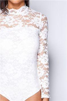 Abbey White Lace High Neck Bodysuit at misspap.co.uk