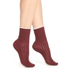 Women's Peony & Moss Lace Trim Crew Socks (€21) ❤ liked on Polyvore featuring intimates, hosiery, socks, wine red lace crew, red socks, lace socks, red crew socks, lace trim socks and red lace socks