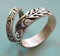 Silver Oak Wedding Ring Set by sudlow on Etsy, $105.00 in silver. $1275 in 14kt white, yellow or rose gold.
