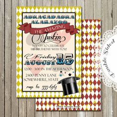 Printable Invitation  Magic Birthday  by GoldenMomentsDesign, $10.00