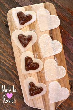 Nutella Heart Ravioli recipe : from http://RecipeGirl.com - cute recipe for Valentine's Day