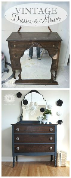 Before and After Painted Furniture | Salvaged Inspirations Bluestone Cottage Chalky Patina Review