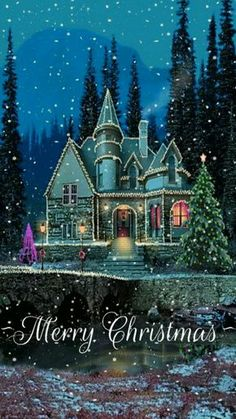 christmas house snow gif animated christmas wallpaper for your phone sparkles and snows Christmas Scenes, Noel Christmas, Victorian Christmas, Vintage Christmas Cards, Christmas Pictures, Christmas Greetings, Winter Christmas, Christmas Lights, Winter Snow