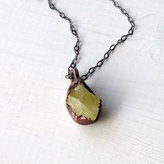 Gemstone Necklace Brazilianite Stone  $88.50, via Etsy.