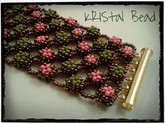 "a varient of the Original ootheca cuff by Rachel Nelson-Smith. Find the pattern is in her book ""Seed Bead Fusion"" - the pattern is NOT on Craftsy as some have pinned & repinned."