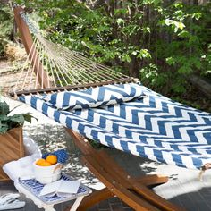 Island Bay 13 ft. Chevron Stripe Quilted Hammock with Wood Arc Stand - Hammocks at Hayneedle
