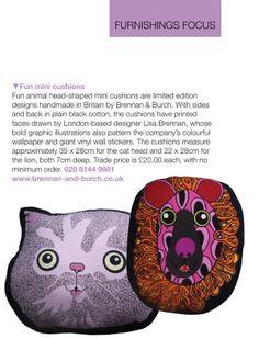 Home Decor & Furnishings featured Brennan and Burch Cat head cushion and Lion cushion