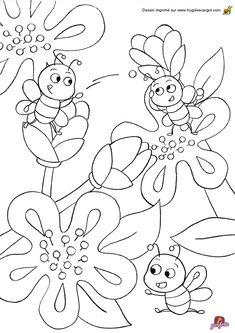 Coloriage des abeilles entrain de butiner le pollen des fleurs