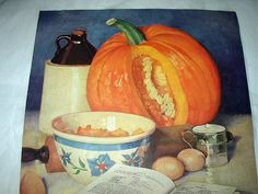 Marion Powers Magazine Artwork Cooking Pumpkin Pie, Kitchen Ingredients Fall Halloween Vintage Print on Etsy, $12.00