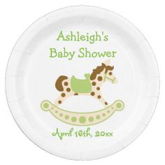 Green Rocking Horse Baby Shower 9 Inch Paper Plate