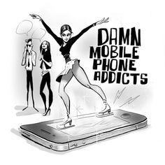 """""""Damn Mobile Phone Addicts"""" 😉... #characterdesign #illustrationart #illustration #conceptart #skating #iceskating #skategirl #pinupart #pinup #pinupgirl #cartoon #cartoony #cartoonart #urbanart #urban #streetart #font #lettering #handlettering"""