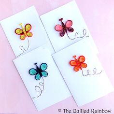 Spring, Easter Cards, Blank Note cards set: 6 Handmade Note cards with Colorful Quilled Butterflies Embellishment