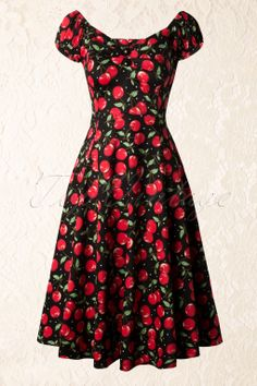 Collectif Clothing - 50s Dolores Cherry Polkadot Doll Swing Dress