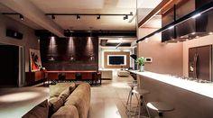 Cozinha + Home + Sala de Jantar + Varanda = ambientes integrados - Projeto Ed. 360 - Bruno Moraes Arquitetura