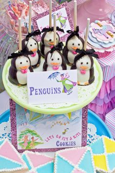 Mary Poppins Party - Penguin Cake Pops and Kite Flying Cookies Penguin Cakes, Penguin Party, Penguin Birthday, 5th Birthday, Birthday Parties, Birthday Ideas, Geek Birthday, Girl Parties, Horse Birthday