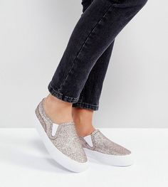 ASOS DULCIE Wide Fit Slip On Sneakers - Pink