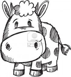 Cute Doodle Sketch Cow Vector Illustration Stock Photo Repin & Follow my pins for a FOLLOWBACK!