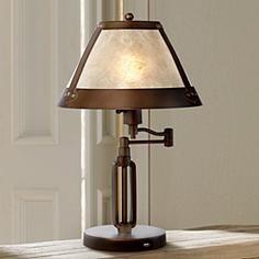 Samuel Swing Arm Mica Shade Desk Lamp with USB Port