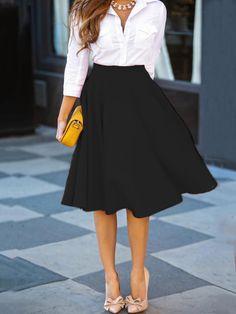 118a79861 Black A Line High-waisted Skirt Saia E Blusa