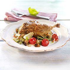 Cesnakové kurča so zapekanou zeleninou