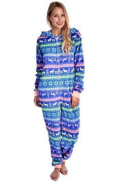 Blue Reindeer Womens Onesie  https://www.australiaqld.com/product/blue-reindeer-womens-onesie/ #fashion #style #dresses