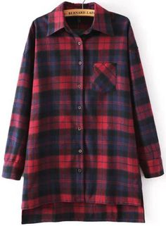 Red Blue Long Sleeve Checker Plaid Checkered Loose Blouse