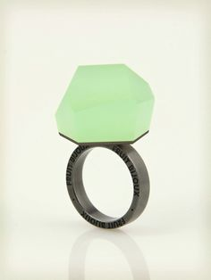 Fruit Bijoux, VU, black rhodium ring, mint green. To download high or low resolution product images view Mondrianista.com (editorial use only).
