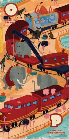 Animals on a train by Thomas Burns, via Behance
