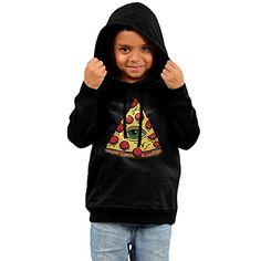 Minessy Kids Unisex Pizza With All Seeing Eyes Cotton Hooded Hoodie Sweatshirt