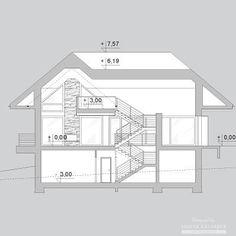 Projekty domów LK Projekt LK&1127    przekrój 1 Bungalow House Design, Floor Plans, Floor Plan Drawing
