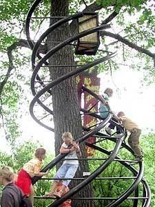 Monkey bar/climbing structure wrapped around a tree... FUN!
