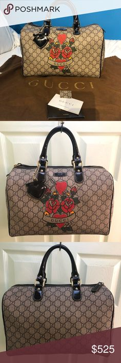 dd45a24db226 AUTHENTIC Gucci Tattoo Heat Joy Boston Bag AUTHENTIC Gucci Tattooed Heart  Joy Boston Bag in dark